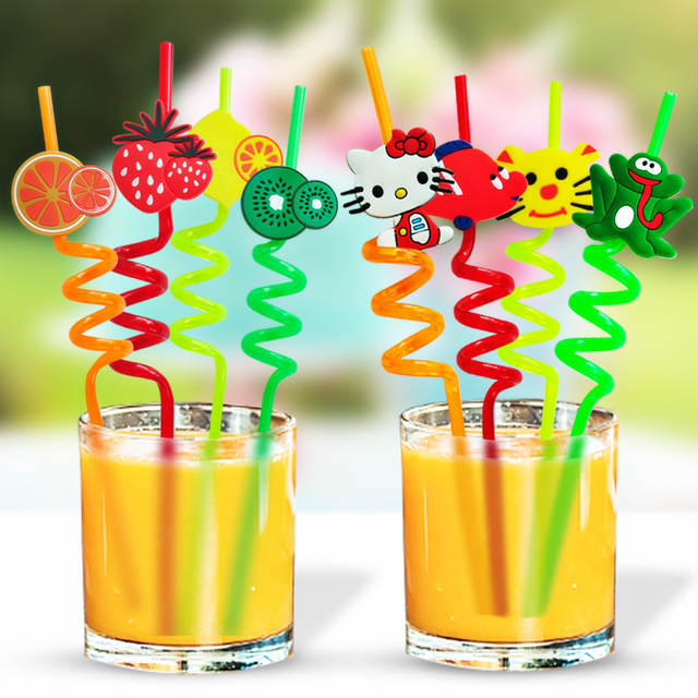 Placeholder 100pcs Flexible Straws Plastic Distorted Fruit Shaped Hard Tube Drink Party Decoration Suppliers Reusable For