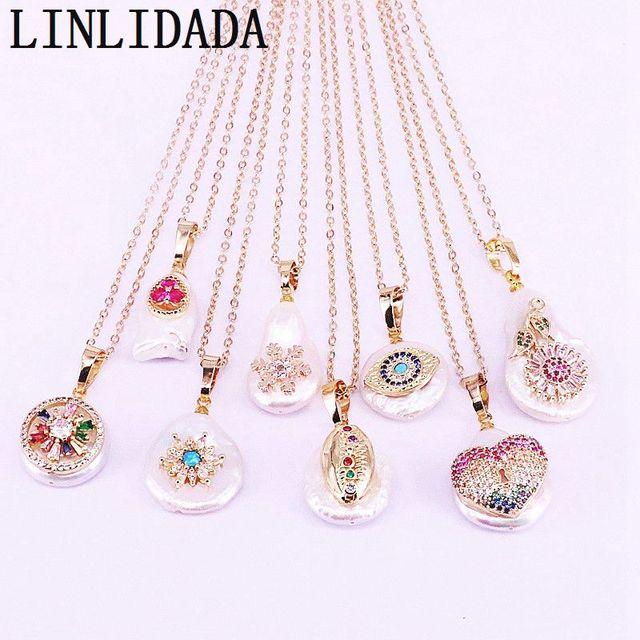 10 sztuk natura słodkowodna perła z CZ micro Pave oko/kwiat/gwiazda złoty kolor biżuteria z wiszącą ozdobą wisiorek naszyjnik