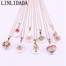 10Pcs Nature Freshwater Pearl with CZ micro Pave Eye/Flower/Star Gold Color Jewelry Charm Pendant Necklace
