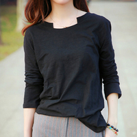Autumn Korean fashion casual wild women loose large size simple pure color Three Quarter Sleeve T-shirts for girls