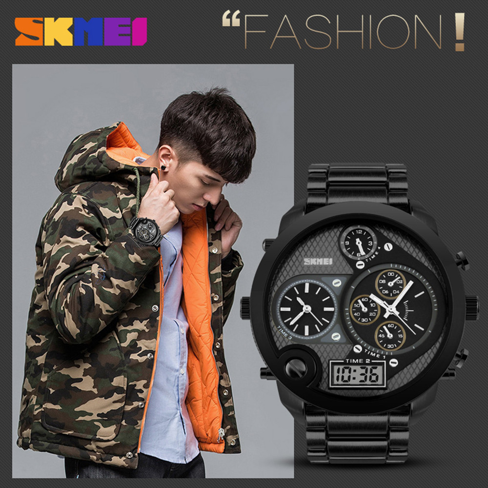 Skmei Zinc Alloy Waterproof Fashion Time Date Wristwatch Quartz Men s Style Dual display
