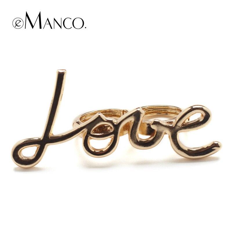 Emanco duas cores amor liga anéis para letras unissex romântico na moda anel novos acessórios criativos dedo jóias bague femme