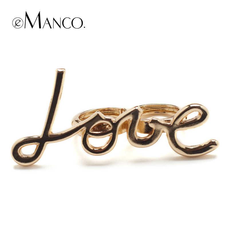 eManco два цвета люблю сплава кольца для унисекс букв романтические модный кольцо новые аксессуары творческий украшения палец BAGUE роковых