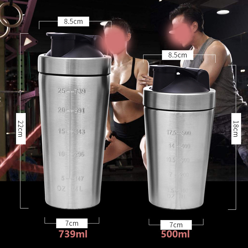 Sports Nutrition Protein Shaker Bottle with Scale Whey Protein Shaker Easy-clean Stainless Steel 739/500ml Blender Mixer Fitness