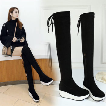 New Thigh High Boots Women Black Faux Suede Over The Knee High Riding Booties Med Heel Tall Shaft Punk Sneakers Stretch Creepers