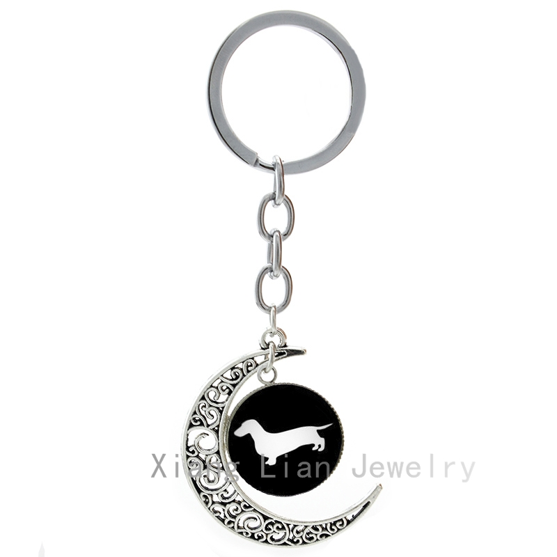 2016 the most popular hot sale Dachshund keychain vintage cute dog silhouette profile hunter hound pet dog lover key chains T354