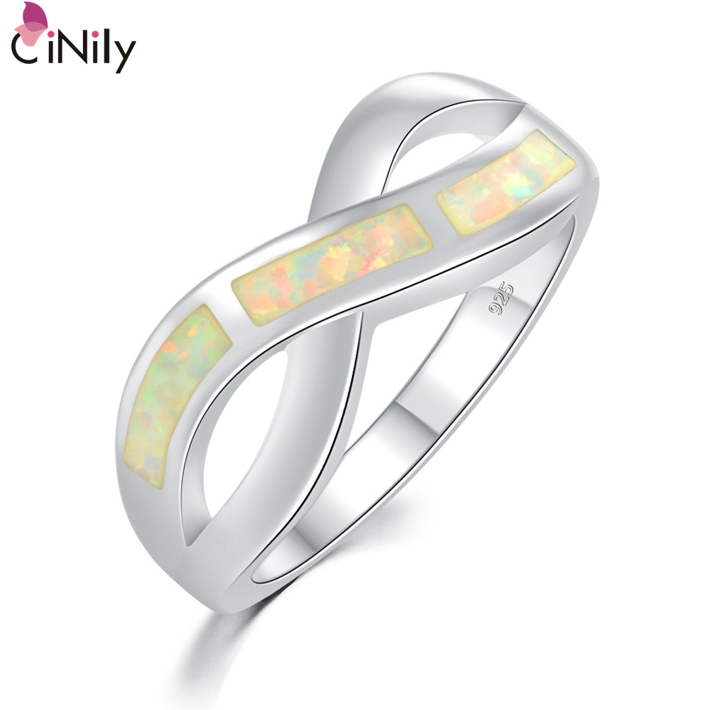 Cinily Fire-Opal Jewelry Ring-Size Wedding Silver-Plated White Party Women for 7/8/9-oj8167