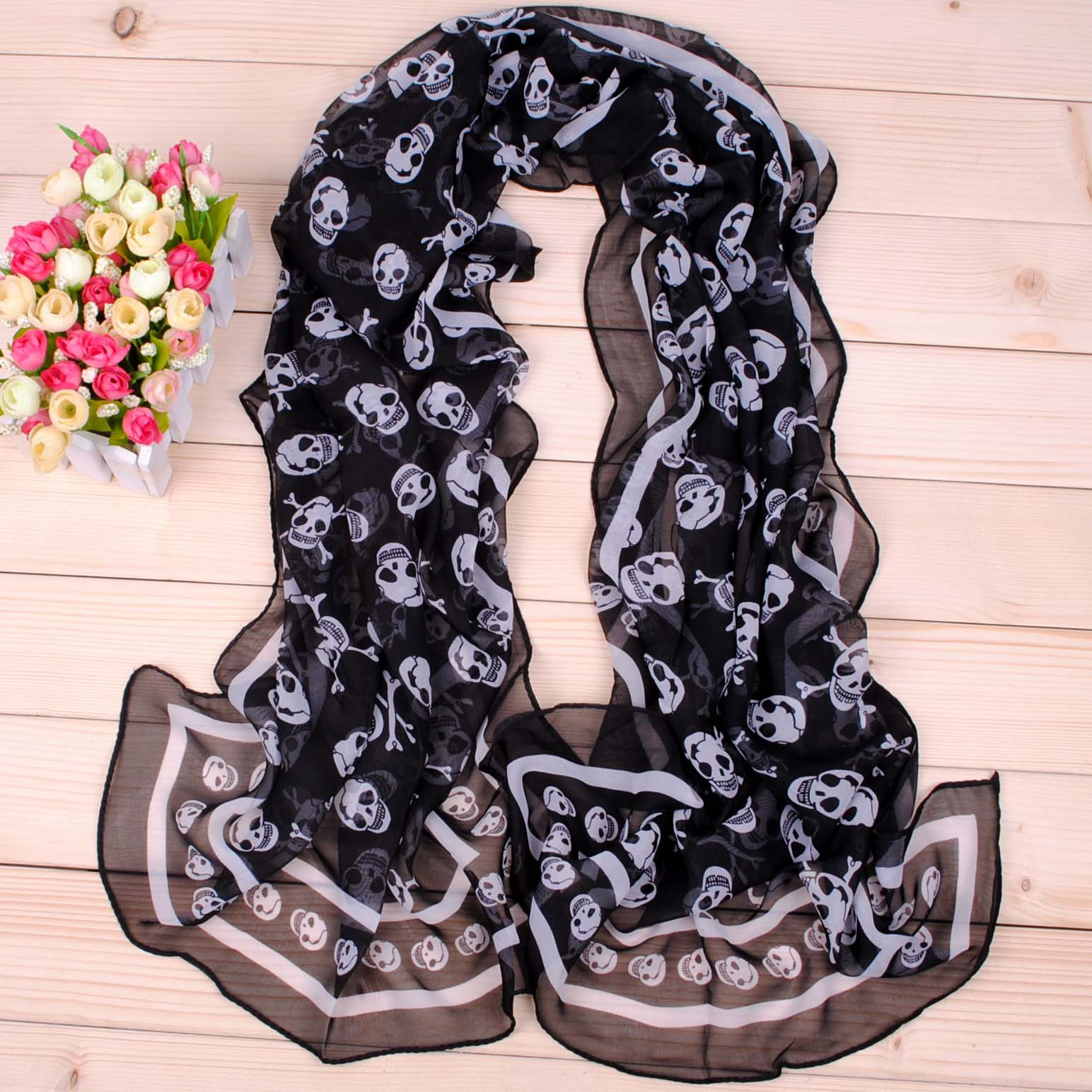 Luxury Brand Peacock Embroidered Scarf Women Summer Nylon Pirate Skull Long Chiffon Scarfr Lace Scarf Hijab Ladies Scarves