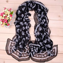 Luxury Brand Peacock Embroidered Scarf Women Summer Nylon pirate skull long chif