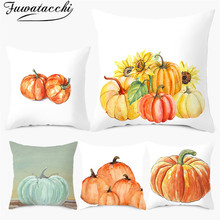 Fuwatacchi Fruit Cushion Cover Thanksgiving Pumpkin Painting Home Gift Pillows Covers Decorative Throw for Decorations