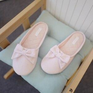 Image 3 - น่ารัก BowTie ชั้นรองเท้าแตะรองเท้าผู้หญิงรองเท้าลื่น Breathable Home House รองเท้าแตะในร่มห้องนอนฤดูใบไม้ผลิฤดูใบไม้ร่วง
