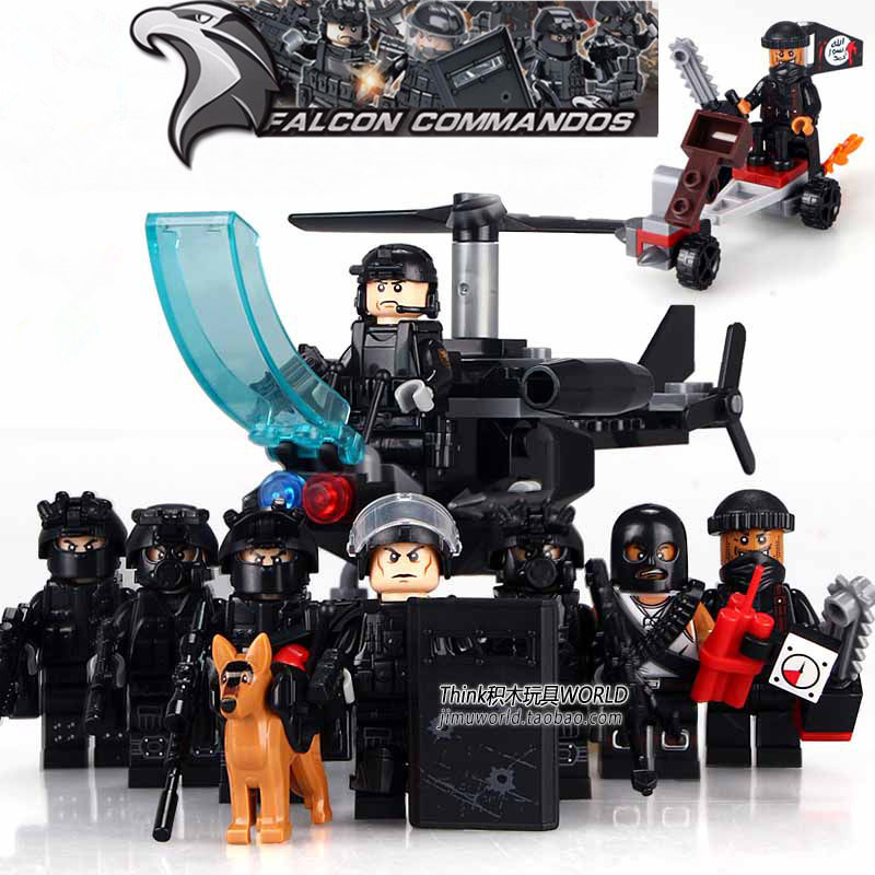 8PCS City Police Swat Team Army soldiers Air Weapons Helicopter Mech Guns LegoINGlys Military WW2 Building Blocks Sets Kids Toys