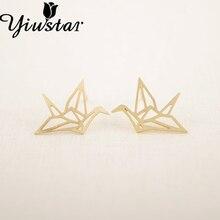 Yiustar Trendy Jewelry Origami Crane Earrings Hollow Simple Tiny Bird Stud Earrings for Women Party Gifts Druzy Earrings Brincos