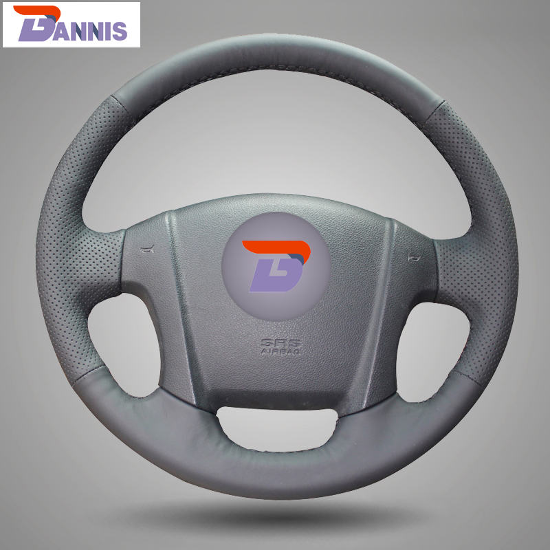 BANNIS Black Artificial Leather DIY Hand-stitched Steering Wheel Cover for Kia Sportage 2 2005-2010 2009 Sportage