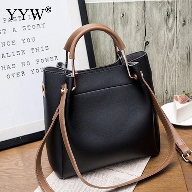 Solid Soft PU Leather Female Shoulder Bag Women'S Bucket Handbags Light Grey Tote Bags For Women 2018 Designer Top-handle Bag 3