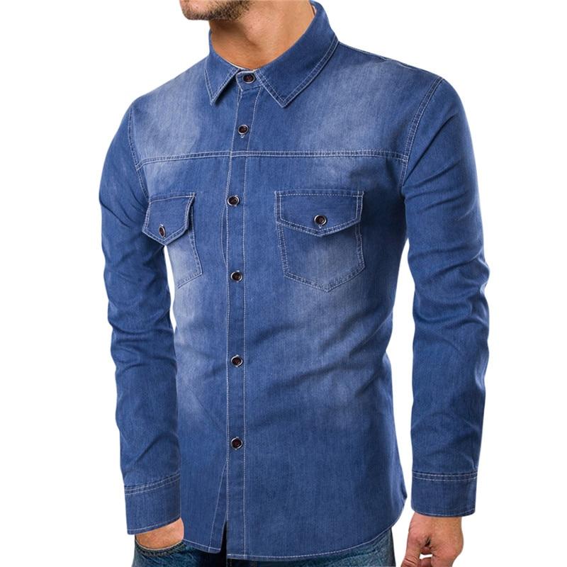 Denim shirt European version XL S-6XL high quality cotton mens casual washed denim long-sleeved