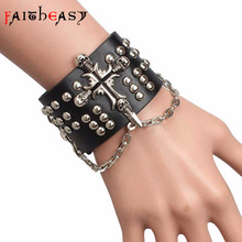 Faitheasy Steampunk Cross Leather Bracelets Bangles Men Rock Punk Bracelet Chain Charm Gothic Jewelry Fashion Accessories