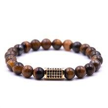 KANGKANG Hot Selling Brown natural stone Bracelet Micro-inlay Zirconia 4 color Quadrangular prism 8mm Elastic Rope Bead