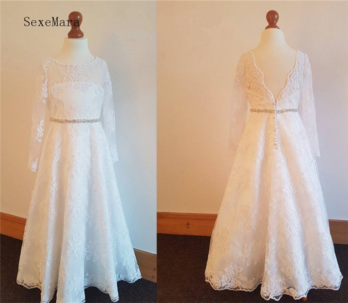 Holy First Communion Dress Long Sleeves A Line Flower Girls Dresses Lace White Ivory Custom Made