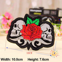 1PC Patches For Clothing Skull With Rose Embroidery 10.0×7.6cm Patches For Apparel Bags DIY Accessories