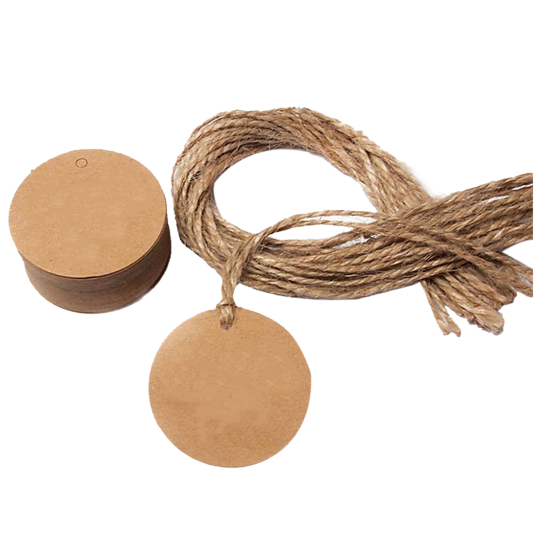 Perfect-50Pcs Round Kraft Gift Tag With Hemp Cord