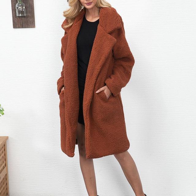 b82c1b6e98d03 Женское шерстяное пальто, женская зимняя теплая плюшевая куртка из  искусственного меха, длинное пальто с