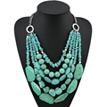 New Handmade Unique Design Women's Chunky Necklace Fashion Multilayer Bohemia Style Turquoise Big Statement Jewelry Gift #10274
