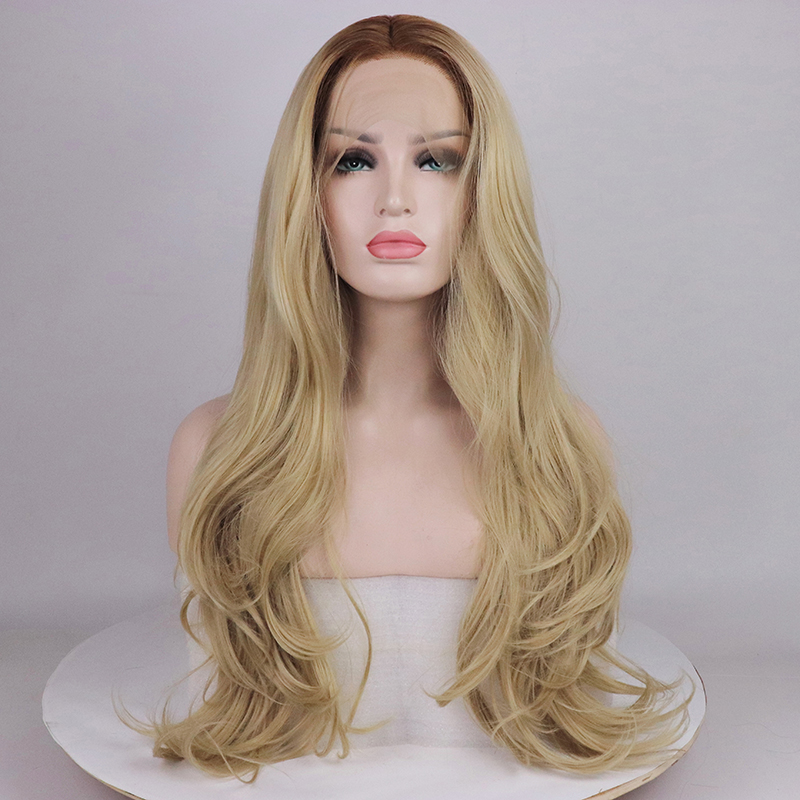 Fantasy Beauty Long Wavy Ombre Blonde Lace Front Wig Brown Root Glueless Synthetic Hair Wig Heat