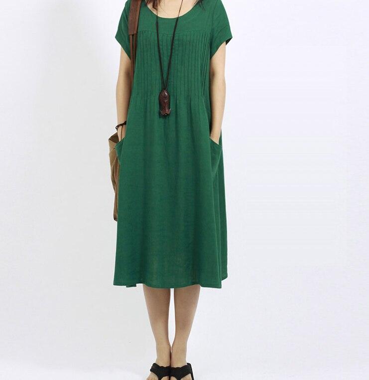 Nueva primavera y verano mujeres de gran tamaño suelta vestido femenino más  tamaño de algodón y lino de manga corta temperamento vestido 81adfece366