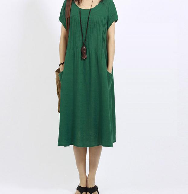 Primavera e no verão das mulheres tamanho grande vestido solto feminino plus size longo algodão e linho curto-de mangas compridas temperamento vestido