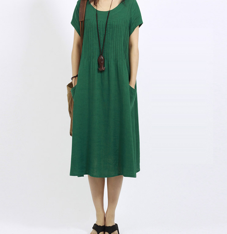 Spring and summer womens large size loose dress female plus size long cotton and linen short-sleeved temperament dress