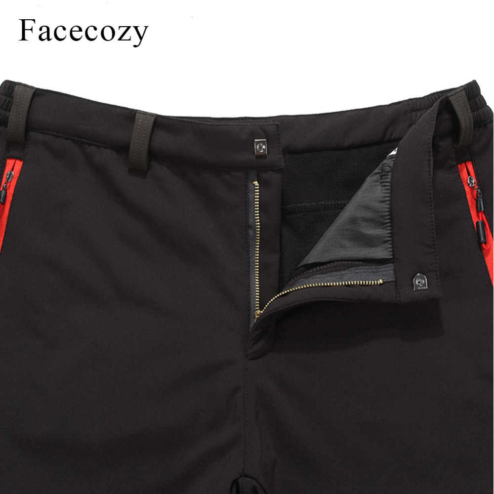 Facecozy 男性ソフトシェルパンツ屋外防水フリースハイキングキャンプ冬の男性スポーツズボントレッキング狩猟釣り