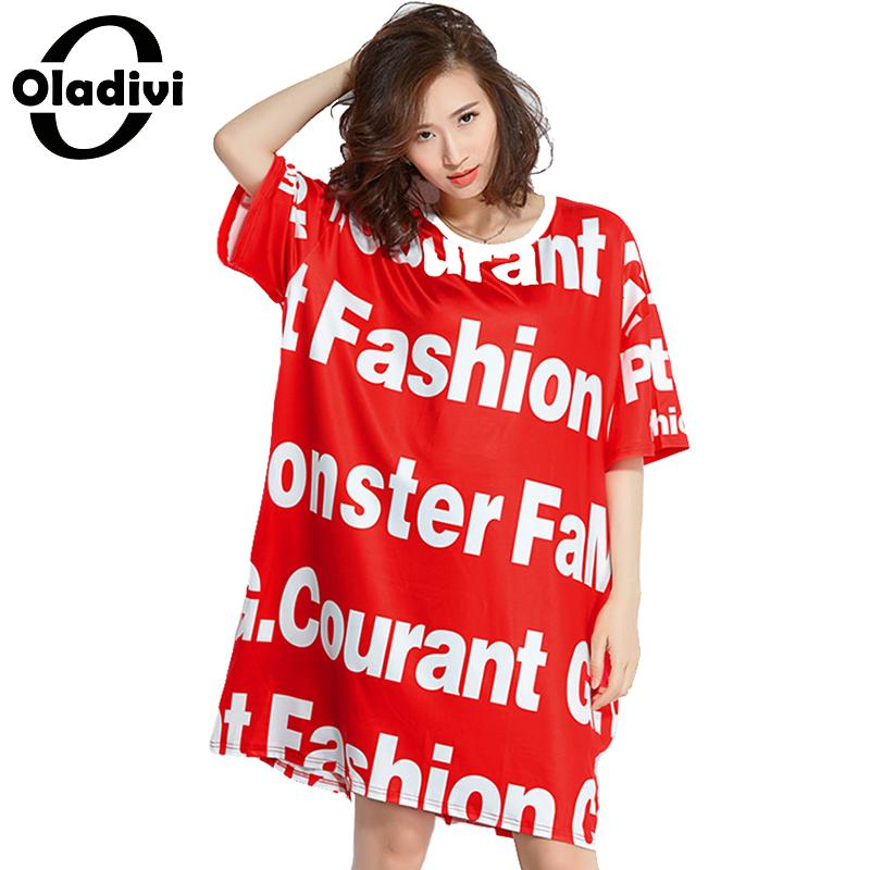 68724c41f81 Oladivi Brand Plus Size Women Clothing Fashion Letter Print Casual Loose  Dress Ladies Free Style Shirt Dress Long Top Tee Tunics-in Dresses from  Women s ...
