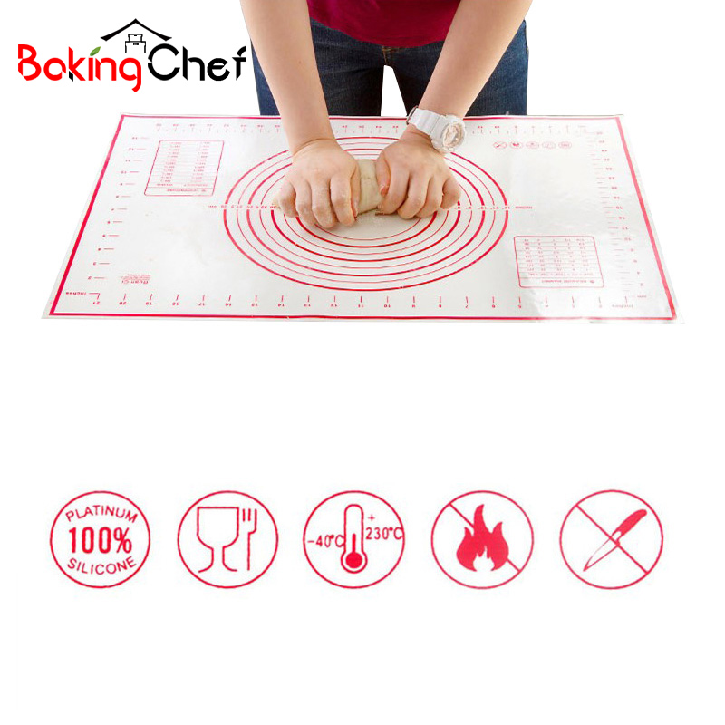 BAKINGCHEF 2 PCS / set Silicone Baking Mat Pizza Dough Maker Pastry Kitchen Gadgets Peralatan Memasak Bakeware Kneading Supplies