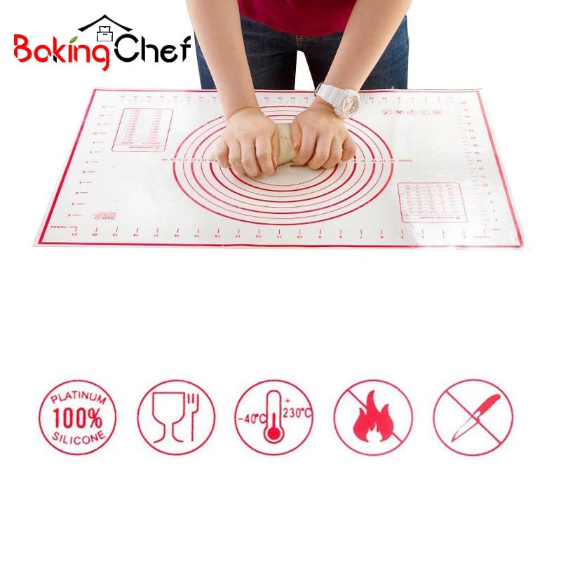 BAKINGCHEF 2 PCS/set Silicone Baking Mat Pizza Dough Maker Pastry Kitchen Gadgets Cooking Utensils Bakeware Kneading Supplies