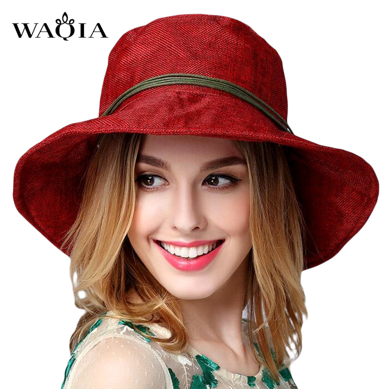 2017 sombreros de verano para las mujeres moda vintage Linen playa al aire  libre sombrero del Sol del ocio femenino Fedora sombrero señoras chapeau 11  ... a1222b23178