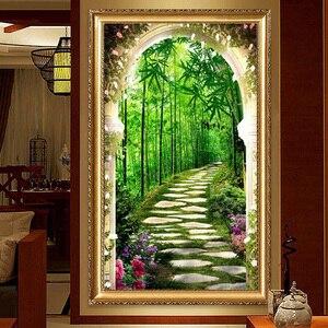 Image 4 - QIANZEHUI, bordado de diamantes, Diamante redondo profundo en el bosque de bambú completa Diamante de imitación 5D pintura de diamante punto de cruz, costura