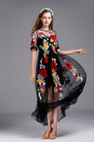 2016 Sumer High Quality Mesh Embroidery Flower Dress Woman Black Party Dress S XL Size For