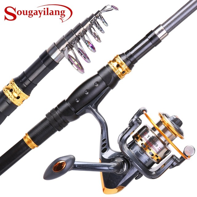 Special Price Sougayilang Fishing Rod Reel Combos Carbon Telescopic Fishing Pole with Spinning Reel for Travel Saltwater Freshwater Fishing