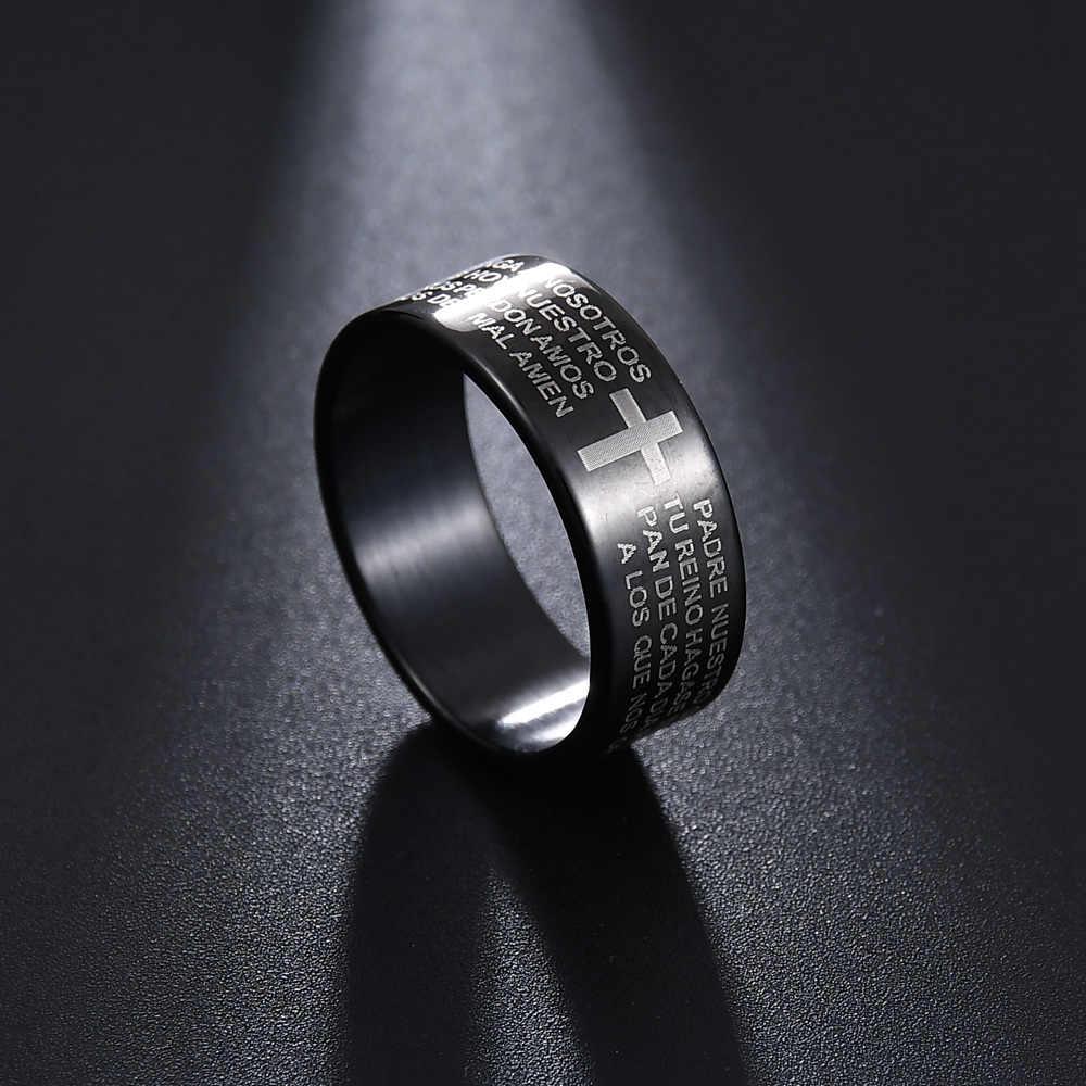 MMS moda stal nierdzewna 316L stalowe pierścienie dla mężczyzn i kobiet biblia modlitwa pana pierścionki z krzyżykiem moda Punk prezent dla mężczyzny biżuteria pierścionki