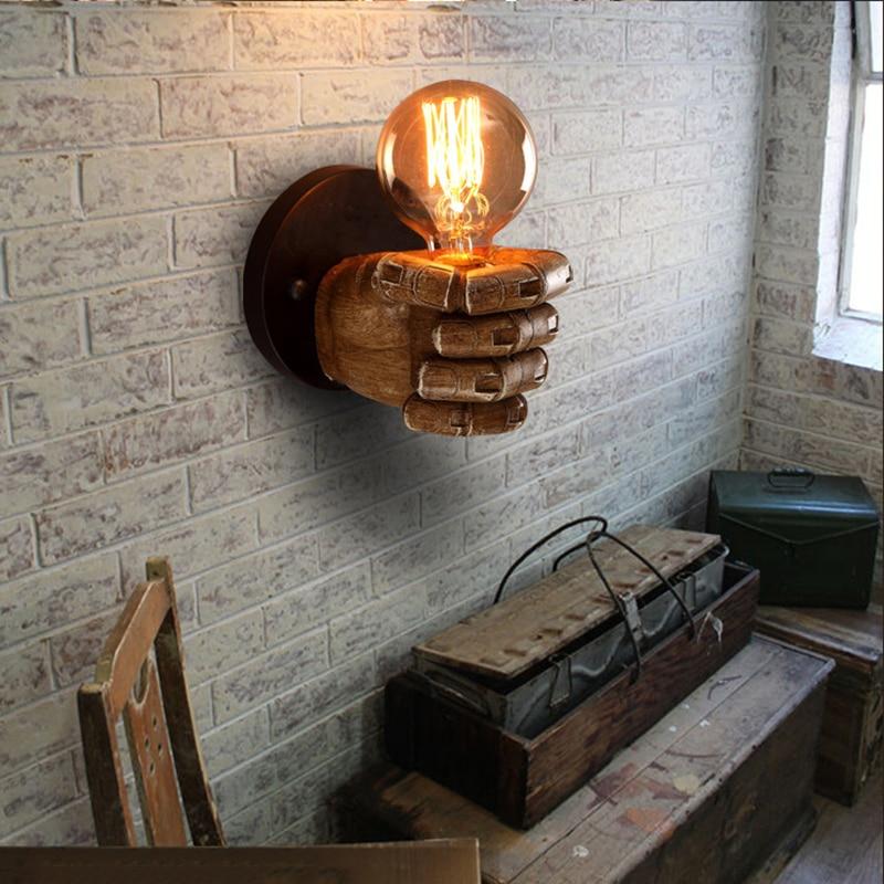 Классическая смолы кулак Настенные светильники коридор огни Гостиная Спальня Освещение AC90V-265V Ретро E27 Edison лампы прохода света