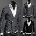 Los nuevos 2016 hombres de moda v-cuello doble de pecho suéter recreacional / hombre de negocios cardigan sweaters / fina ropa de hombre