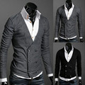 The new 2016 men's fashion brands v-neck double-breasted recreational sweater / Male cardigan Business sweaters / Fine menswear