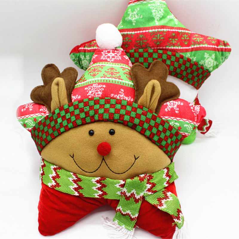 New Five Pointed Star Pillow Christmas Santa Claus Snowman