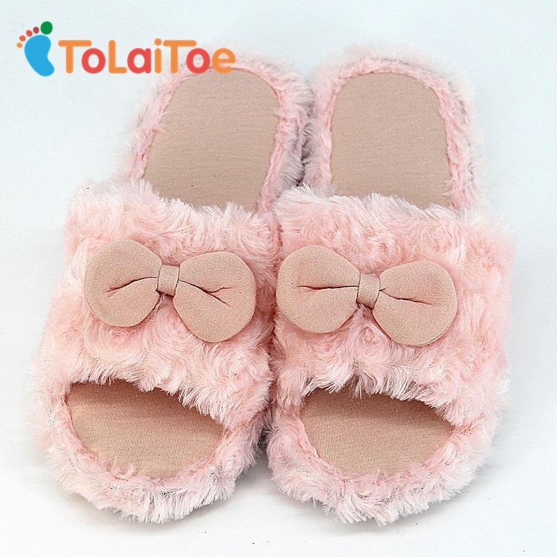 ToLaiToe Autumn&Winter Warm Plush Slippers Women Bedroom Pink Cartoon Bow Tie Shoes Floor Non-slip Rubber Flat Slippers tolaitoe autumn