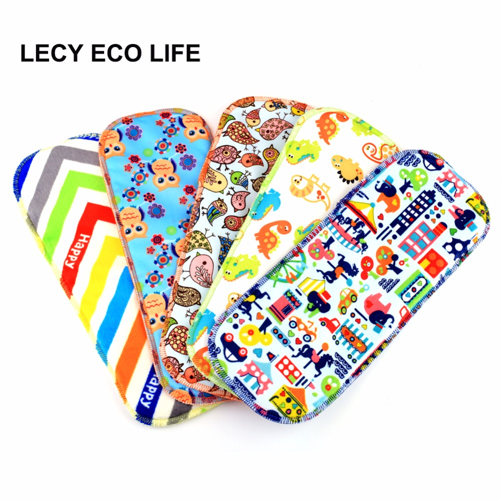 LECY ECO LIFE printed 5 layers super absorbent waterproof baby cloth diaper insert booster with stay dry suede cloth surface