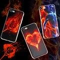 Коке капа для Apple iphone 7 7 плюс Раскрашенная Телефон Сумка Вернуться ТПУ Case для iphone 5 5 s se 6 6 s 6 плюс Объятия Любовь Пламя Любовник