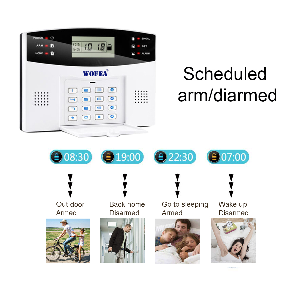 free shipping wired zone LCD GSM alarm system kit with wired type sensors for door sensor motion detector smoke alarm