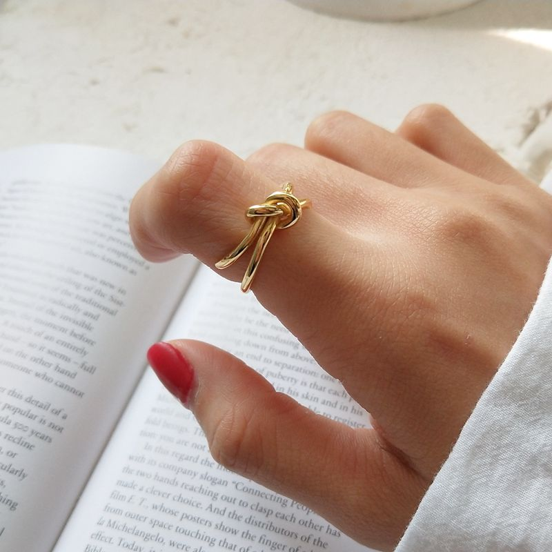 Silvology 925 Sterling Silver Tie Rings Gold Upgraded Version Texture Creative Korea Rings For Women Elegant Gold Jewelry Gift