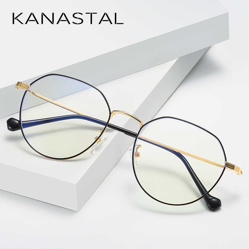 Kanastal óculos de luz anti azul quadro feminino ultraleve óculos do vintage homem gaming quadro óptico 100% uv400